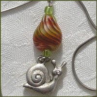 Lampwork Dangle Pendant, Handmade Drop Shape Bead, Green, Red  Lampwork Glass Bead Pendant OOAK