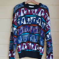 Vintage 1980's Men's Pull Over Sweater with Abstract Torn Look Grunge Slouchy Sweater