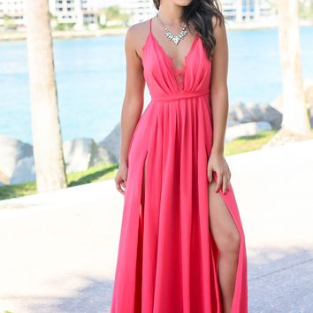Coral Maxi Dress with Criss Cross Back and Lace Detail