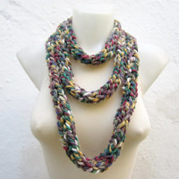 infinity scarf Finger Knitting Scarf - Grey Pink Burgundy Green - Necklace scarf Winter Accessories-chain loop scarf