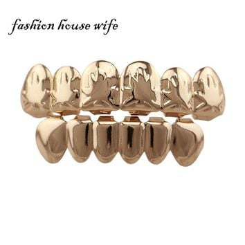 Fashion Rose Gold Top & Bottom Teeth Grillz Bar Fake Mouth Copper Teeth Caps Hip Hop Tooth Grillz Cosplay Jewelry NL0020