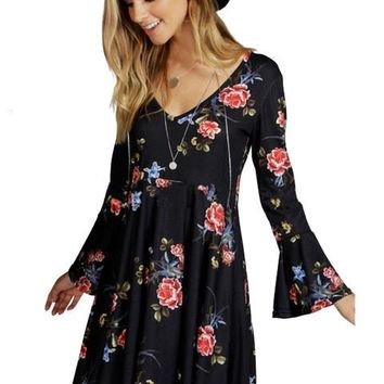 Mini Black Dress Flower print Loose Dress Casual bell sleeve Dresses For Women 2016 Summer New Arrivals 2016 Women Dresses