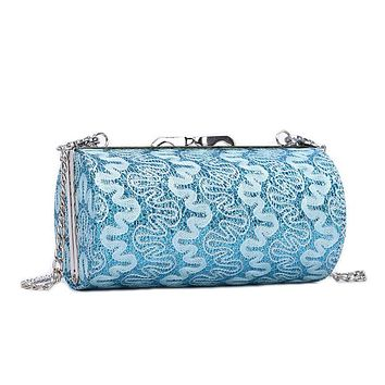 Luxury Floral Lace Sequined Women Oblong Shoulder Bags Metal Chains Strap Sling Bags Phone Party Clutch Bling Bling Bags