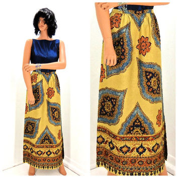Vintage 70s maxi skirt / size M / 7 / 8 / high waisted paisley skirt  /  long raw silk paisley skirt / boho hippie maxi skirt