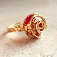 Red & Gold Ring  Gold Leaf Spiral Wire Wrapped by SherryKayDesigns
