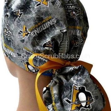 Women's Ponytail Surgical Scrub Hat Cap in Pittsburgh Penguins Stanley Cup Champions