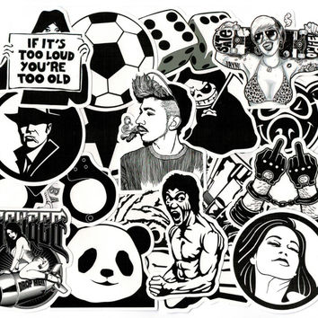 50 pcs Sticker Black and White Skateboard Suitcase Vinyl Decal Luggage Fridge Motorcycle Laptop Toy Styling Cool DIY Stickers
