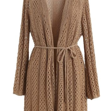 Easeful Eyelet Knit Cardigan in Brown