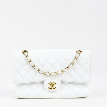 "Chanel White Caviar Leather Quilted ""Medium Classic Double Flap"" Bag"
