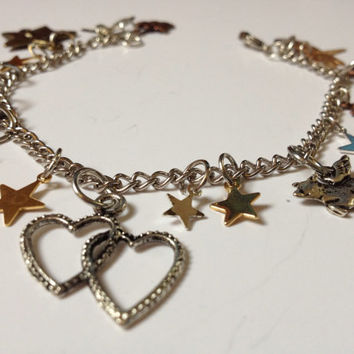End of Summer Sale: Fairy Tale Charm Bracelet, Silver Bronze and Gold, Charm Bracelet, Silver, Ready to Ship, One of a kind