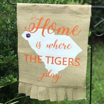 Home is Where The Tigers Play Ruffled Burlap Garden Flag