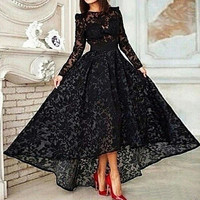 Hot Sale 2016 Black Lace A Line Elegant Long Prom Dress Long Sleeve Lace Hi Lo Party Gown Special Occasion Dresses Evening Dress