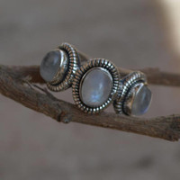 Rainbow moonstone ring, 92.5% sterling silver ring, silver moonstone ring,gemstone ring,sterling silver ring,Three rainbow Moonstone Rings