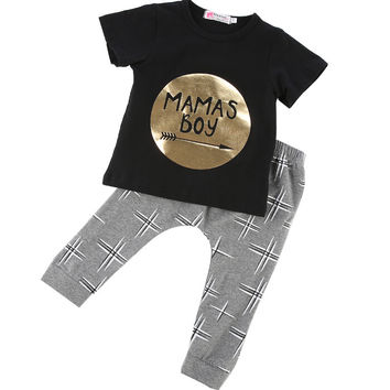 3 6 9 12 18 24M Toddler Baby Infant Mamas Boys Clothes Sets Cute Fashion Jumpsuit Summer 2Pcs Outfit Sets Romper Newborn UK