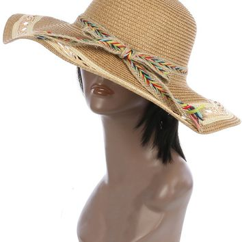 Braided Color Yarn Trim Floppy Straw Hat And Cap 40