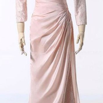 Long Prom Dresses Full Sleeve Embroidered Dress Prom Gown