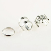 Silver Smooth and Leaf Finger Ring Pack