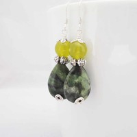 Jasper and Jade Earrings, Green Jasper and Yellow Jade Earrings, Tear Drops