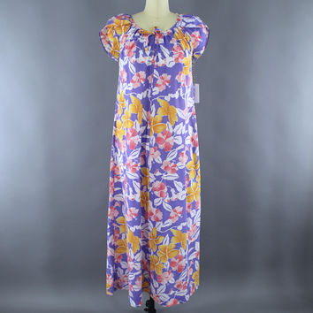 Vintage 1980s Hilo Hattie Hawaiian Print Maxi Dress / Purple & Yellow Floral Print