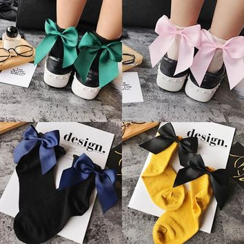 Summer Funny Gold Silver Wire After The Heel Ribbon Big Bow Short Socks Wild Chaussette Female Herring Ankle Socks Color 1-20