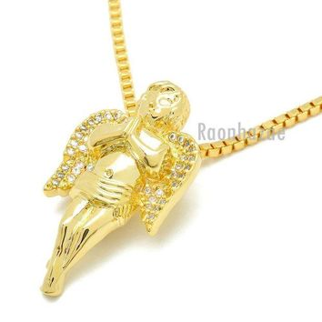DCCKH7E HIP HOP 14K GOLD PLATED MIGOS ANGEL PENDANT W 3mm 24' BOX CHAIN NECKLACE K440G