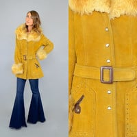 70's SHEARLING & Suede Wrap Coat