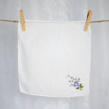 Vintage Embroidered Ladies Hankie White Cotton Violet/Mauve & Green Floral  Spray Womens Bridal Handkerchief or Mother of the Bride