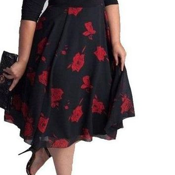 Ladies Dress Flower Print Pattern A-Line Half Sleeves Empire Waist Dress  5XL