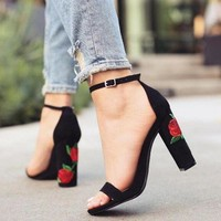 Fashion Rose Embroidered Buckle High Heels Sandals Shoes
