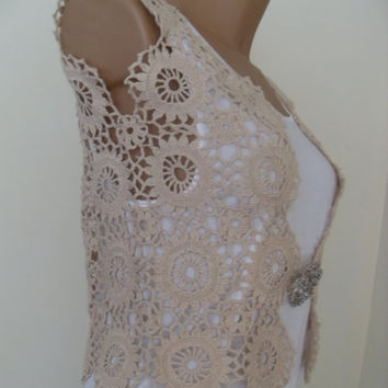 Ivory Vest Crochet Lace Vest Linen Tunic Vest Boho Hippie Vest Crochet Top Sleeveless Cardigan Summer Cover Up Women  Flower Top