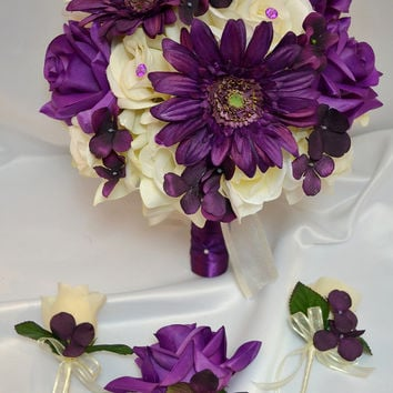 "17pcs Wedding Bridal Bouquet Package Decoration Silk Flower IVORY PURPLE PLUM ""Lily of Angeles"""
