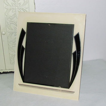 "Vintage 10"" x 12"" Art Deco Glass Picture Frame Vintage Photo Frame"