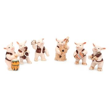 Pig Music Band Handmade Ceramic Figurine Miniature Decor/Animal Collection