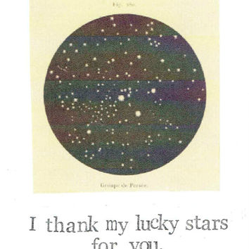 I Thank My Lucky Stars For You Card | Funny Romantic Science Astronomy Science Constellation Astrology Nerdy Vintage Anniversary Valentine