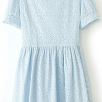 Blue Short Sleeve Floral Shirtwaist A-line Pleated Mini Dress