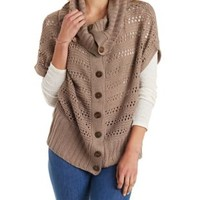 Taupe Open Knit Button-Up Cardigan with Cowl Neck by Charlotte Russe