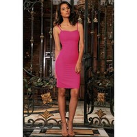 Hot Pink Fuchsia Stretch Sweetheart Evening Bodycon Mini Dress - Women