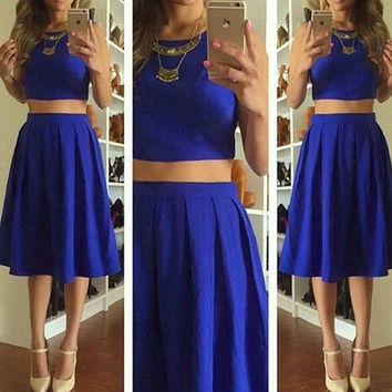 Royal Blue Sleeveless Two Piece Knee Length Homecoming Dresses