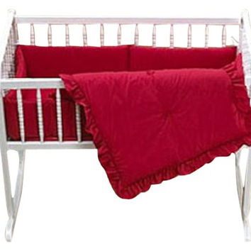 Baby Doll Bedding Solid Cradle Set Red 500cr36