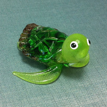 Hand Blown Glass Funny Tiny Turtle Reptile Sea Animal Cute Green Brown Figurine Statue Decoration Collectible Small Craft Hand Painted Decor