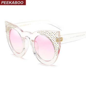 Peekaboo rhinestone cat eye sunglasses women luxury black big transparent sun glasses for women cat eye uv400