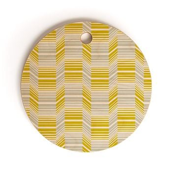 Heather Dutton Delineate Citron Cutting Board Round