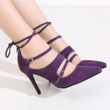 Spring Fashion Pointed Stilettos Women Pumps High Heels Shoes Black Red Purple High-heeled Female Shoes Plus Size 43 XP35