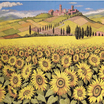 Tuscan Sunflower Landscape Tapestry Wall Hanging