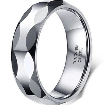 6mm Silver Tungsten Carbide Ring Simple Fashion Style Wedding Engagement Band (Platinum)