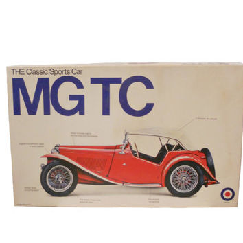 Vintage Model Car MG TC Red 1948 The Classic Sports Car - Open Box Parts Sealed 1/16 Scale Model Kit -164 Pieces Entex No. 8223  Unassembled