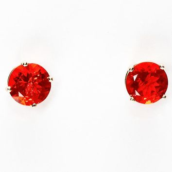 Mexican Fire Opal 14k Gold Stud Earrings - 4mm, 5mm, 6mm