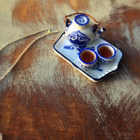 Teapot and Teacups Necklace and Earrings Set (Free shipping to USA)