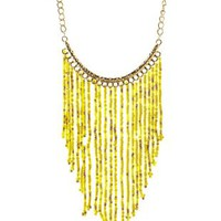 Beaded Fringe Statement Necklace by Charlotte Russe