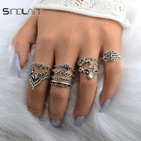 New Wedding 10pcs / Set Bohemian Hollow Pattern Water Droplet Crown Vintage Crystal Beidou Seven Star Fatima Hand Ring For Women